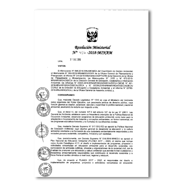 Resolución Ministerial N°456- 2018-MINAM